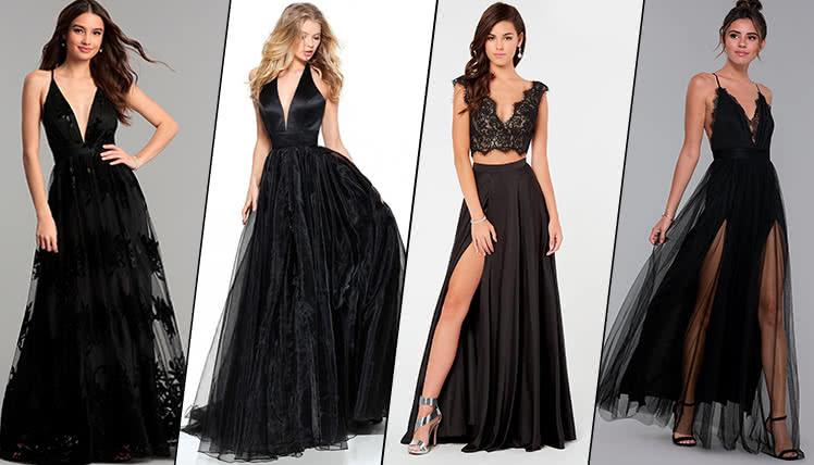 можно ли одеть на выпускной длинное черное платье, идеи образов