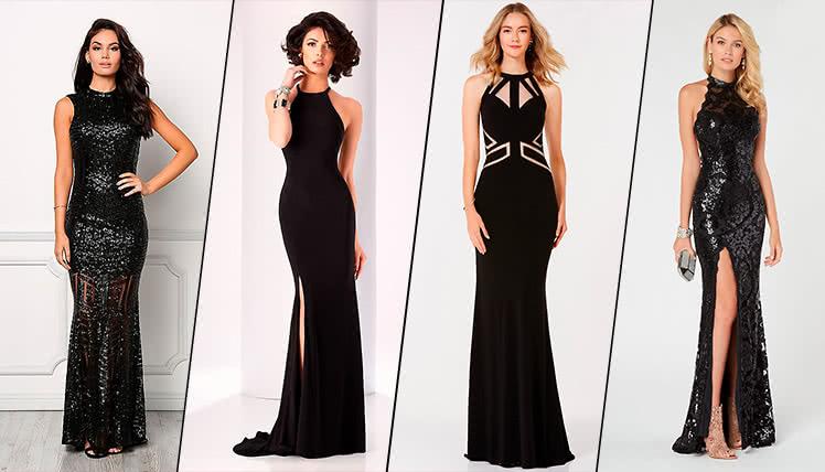идеи образов для выпускного с длинным черным платьем