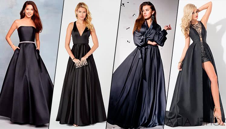можно ли пойти на выпускной в длинном черном платье, фото