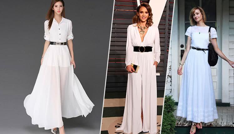 идеи образов для выпускного с длинным белым платьем