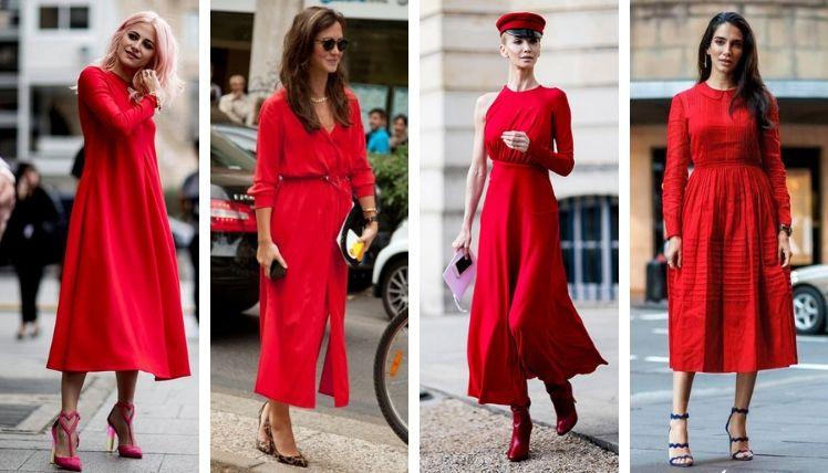 С чем носить красное платье? Составляем модные аутфиты в алом цвете