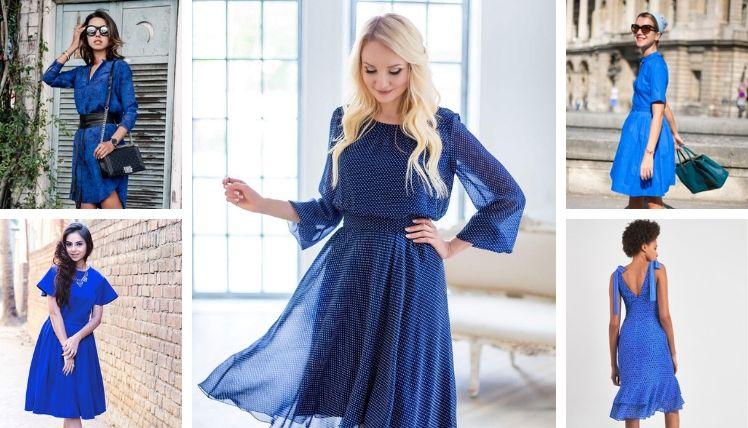 С чем носить синее платье?