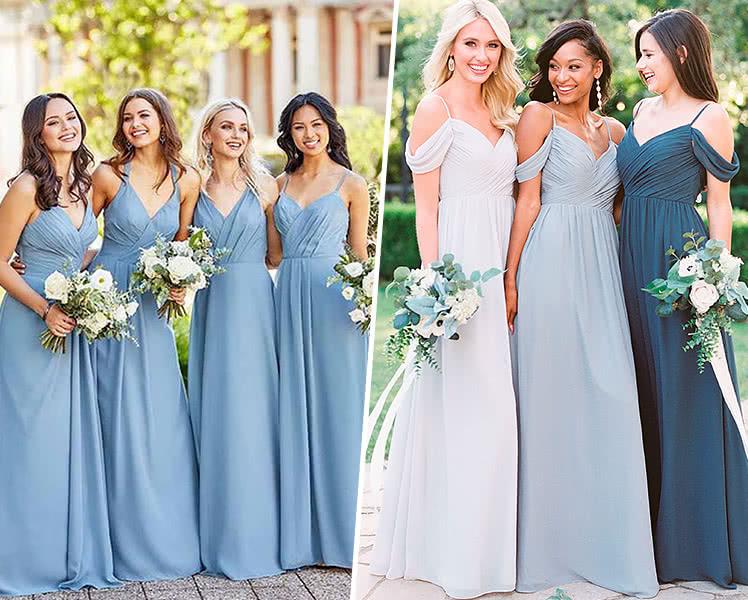 Идеи образов с платьями на запах для подружек невесты