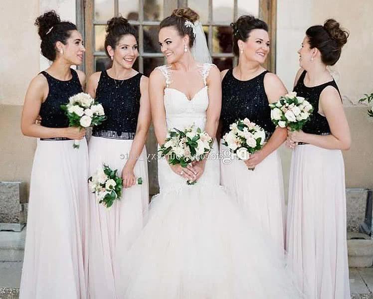 Черно-белые платья для подружек невесты, идеи и фото образов