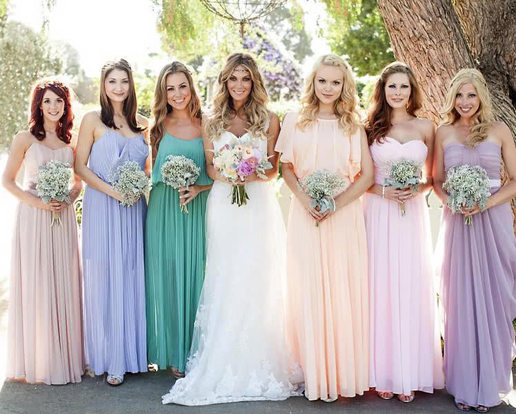 Фото образов с шифоновыми платьями для подружек невесты