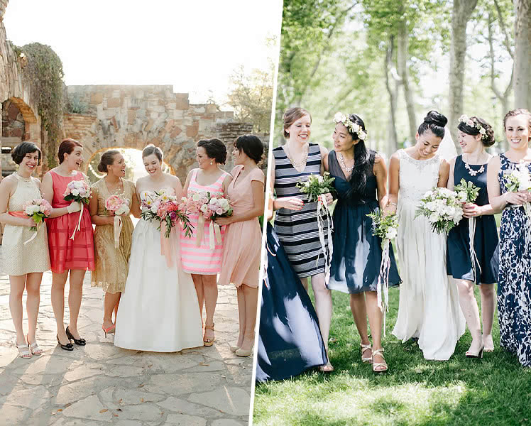 платья подркужек невесты с принтами