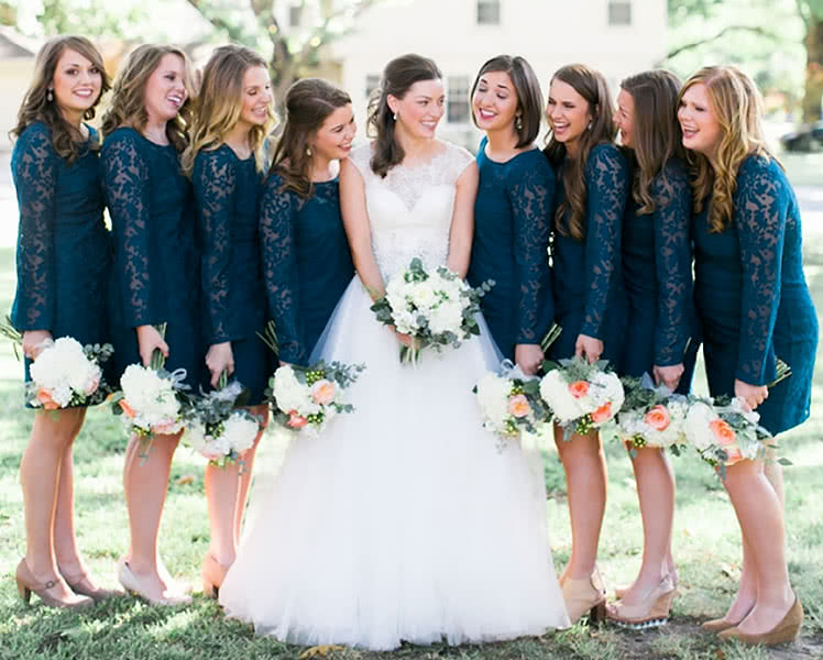 Кружевные платья для подружек невесты