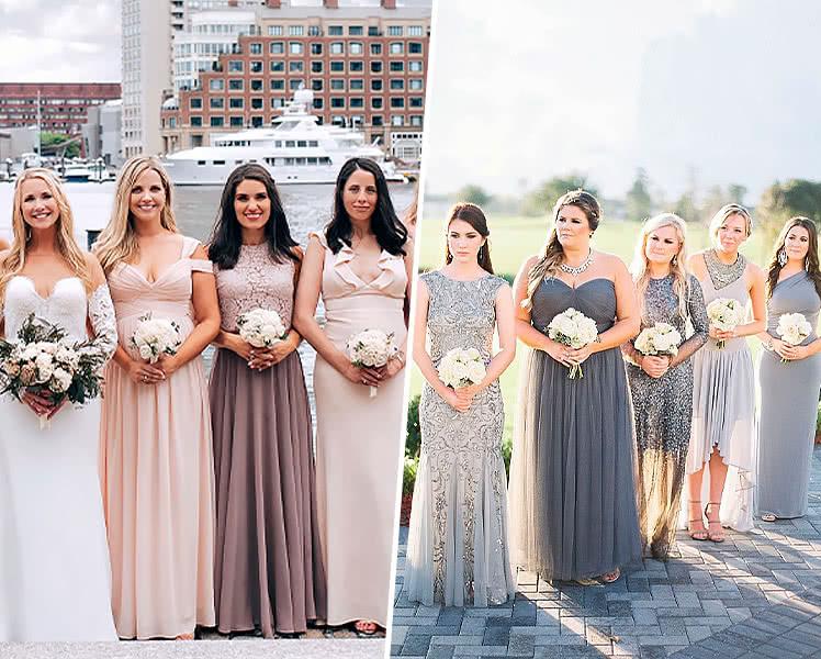 Подружки невесты в разных платьях
