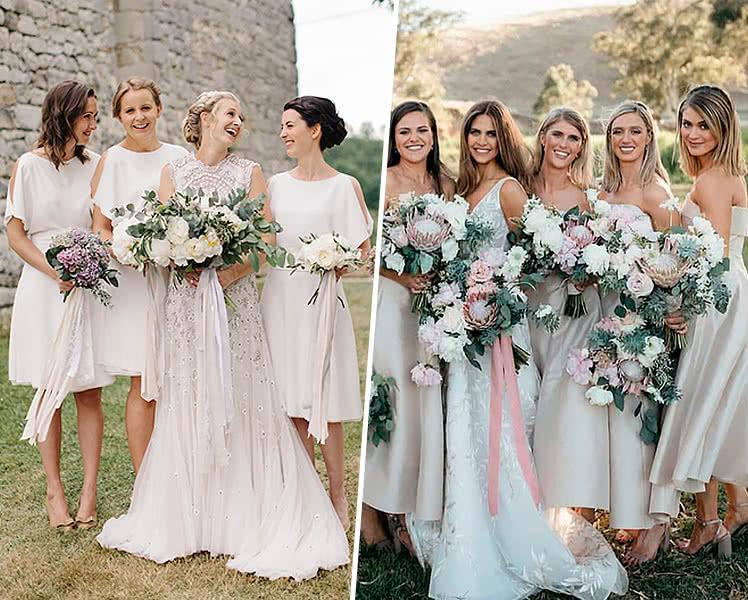 Идеи образов с белыми платьями для подружек невесты