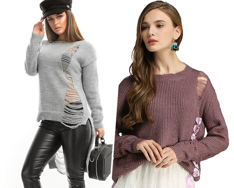 модные женские свитера 2019 2020 с потертостями