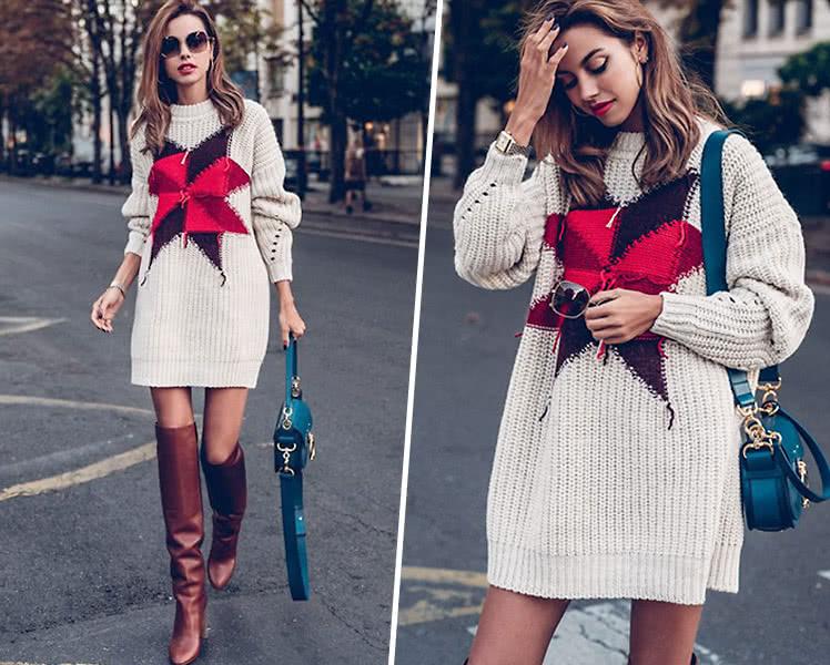 модные свитера с принтами и полосками, фото