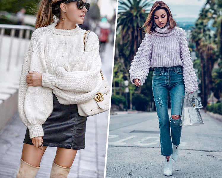 Модные женские свитера и джемперы с оригинальными рукавами