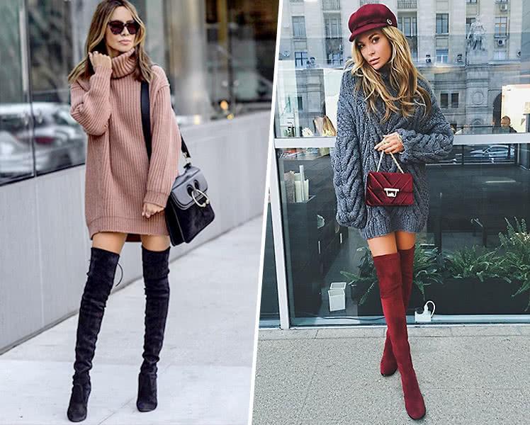 Модные женские свитера-платья, фото трендов 2019-2020
