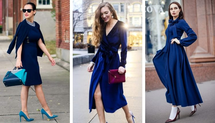 С чем носить синее платье