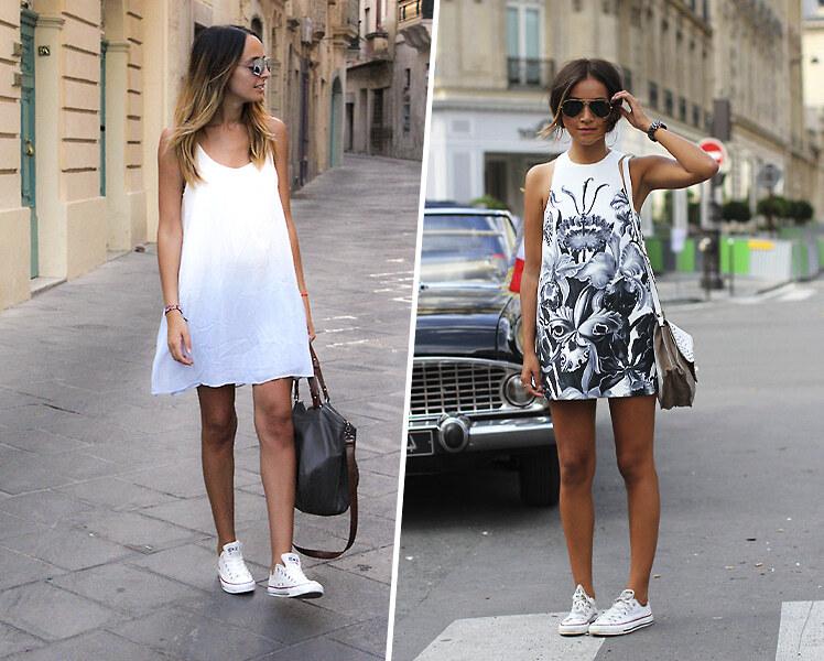 Как носить платье-трапецию с кроссовками и кедами
