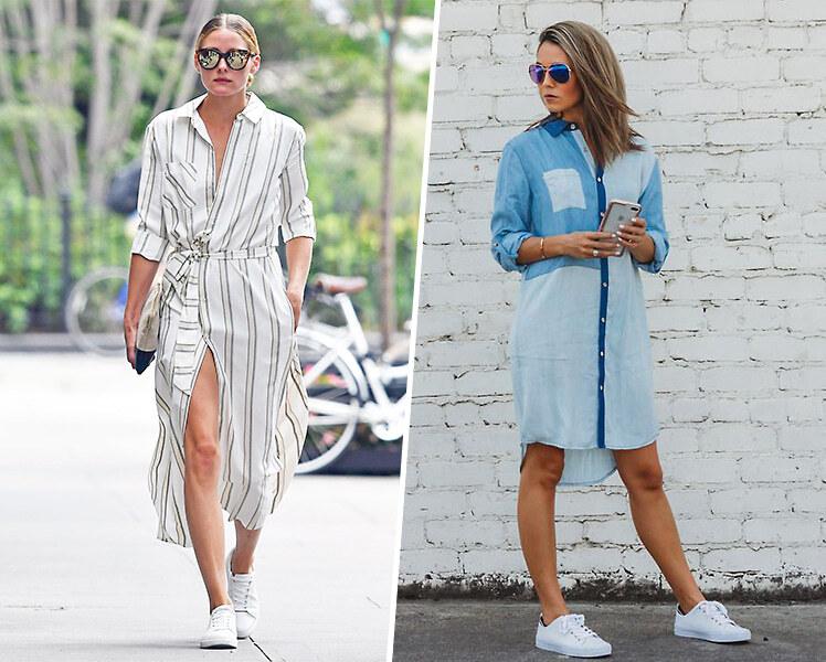 Длинное  платье рубашка и кроссовки, фото идеи образов