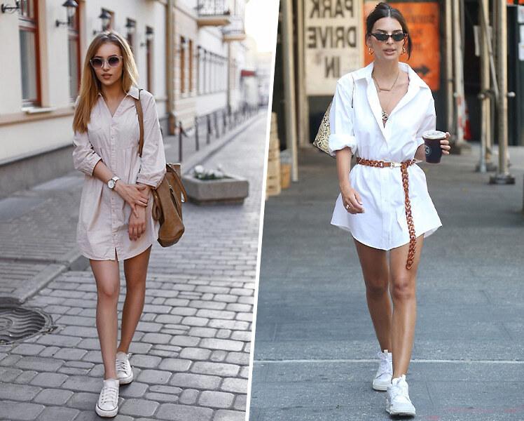 Как носить короткое платье-рубашку с белыми кроссовками