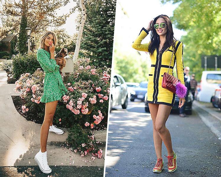 С какими кроссовками носить короткое платье
