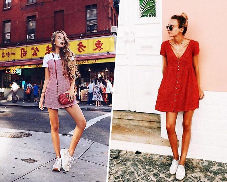 Короткое платье с белыми кроссовками, фото идеи образов
