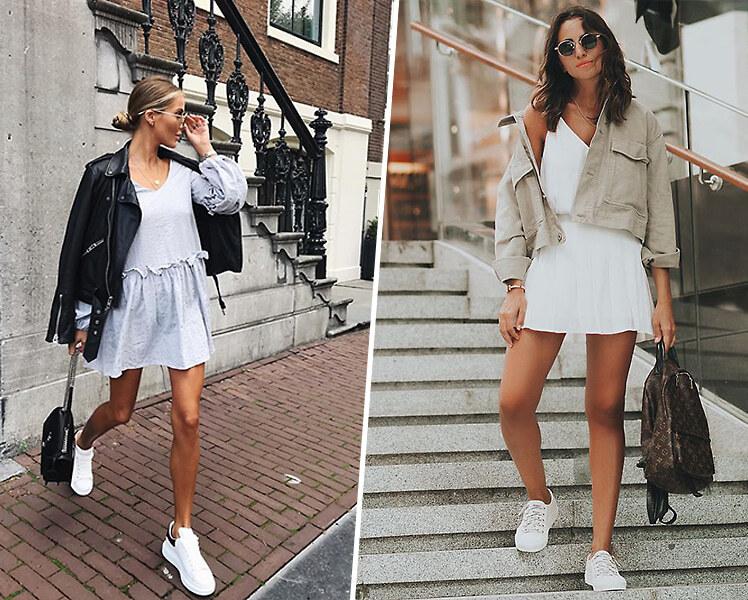 Как носить короткое платье с белыми кроссовками