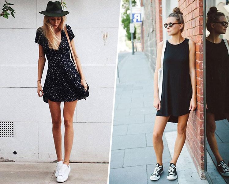 Как носить короткое платье с кедами