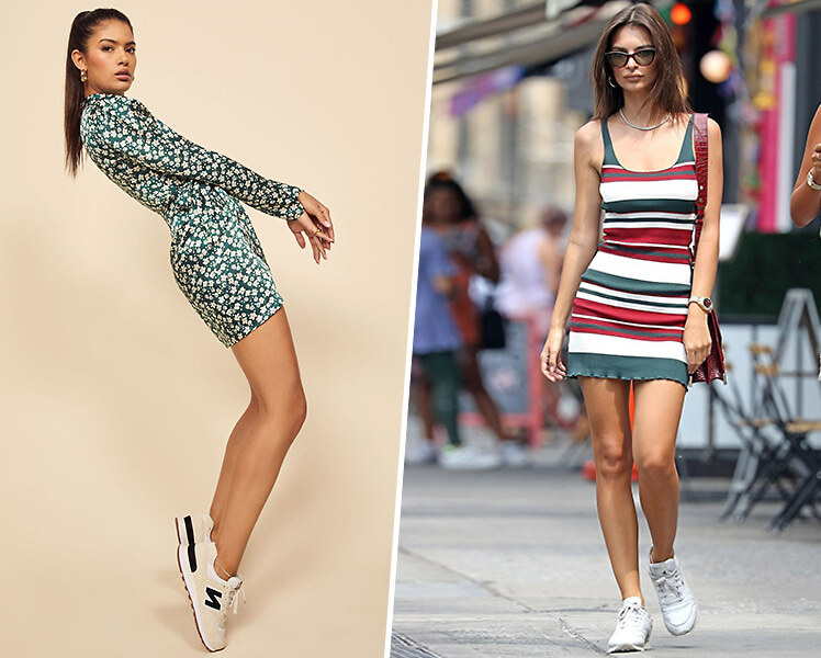 Как носить короткое платье с кроссовками или кедами
