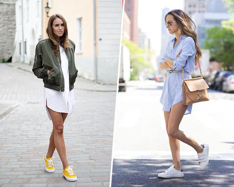 Платье рубашка и кроссовки, фото идеи образов