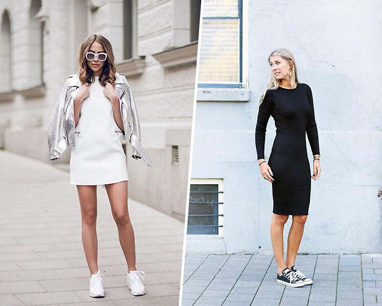 Как носить спортивное платье с кроссовками
