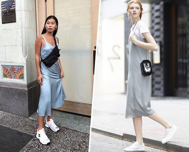 Как сочетать платье с кроссовками