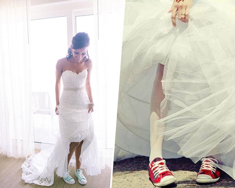 Свадебное платье с цветными кедами, фото идеи образов