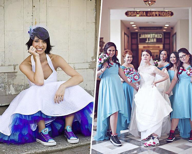 Как сочетать свадебное платье с цветными кедами, фото идеи образов