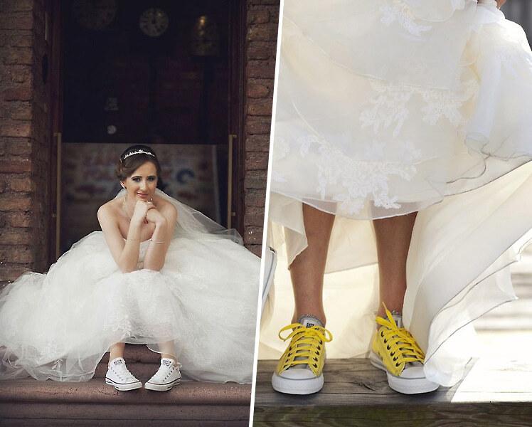 Свадебное платье с цветными кедами