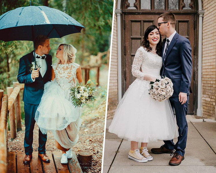 Как сочетать свадебное платье с кроссовками