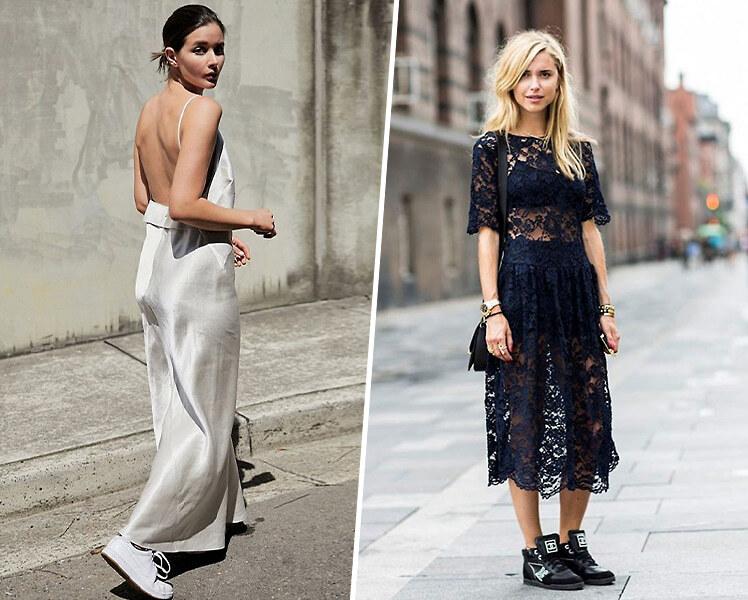Вечернее платье и кроссовки, фото идеи образов