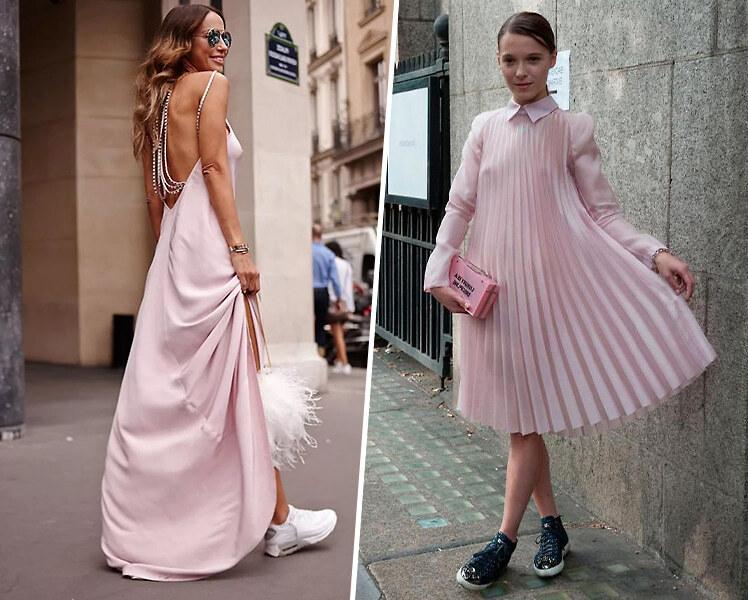 Как сочетать вечернее платье с кроссовками