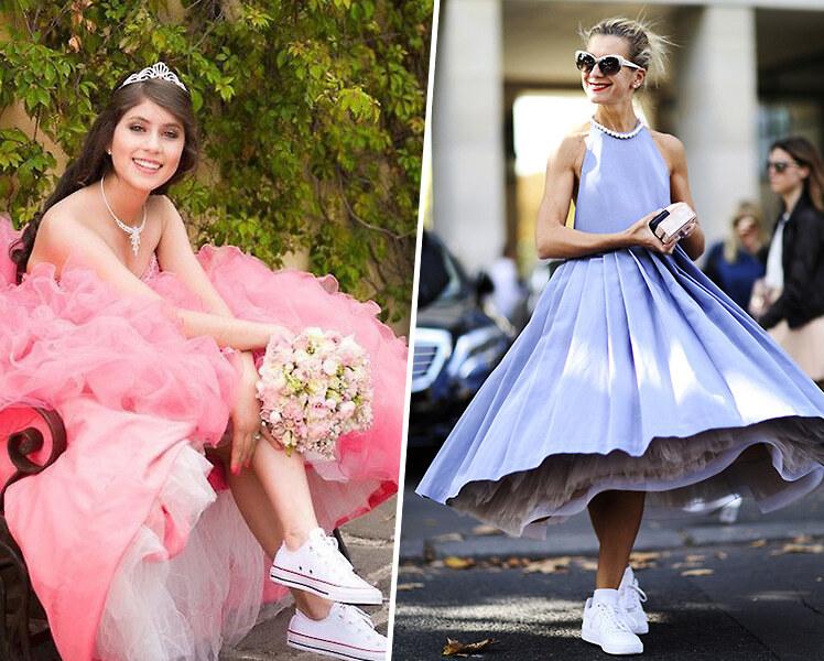 Выпускное платье и кроссовки