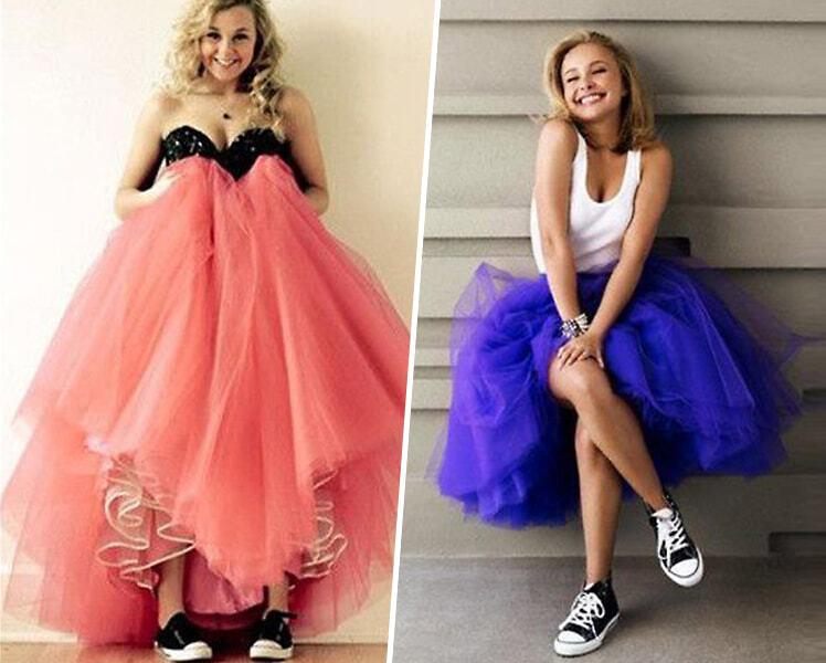 Как сочетать выпускное платье с цветными кедами