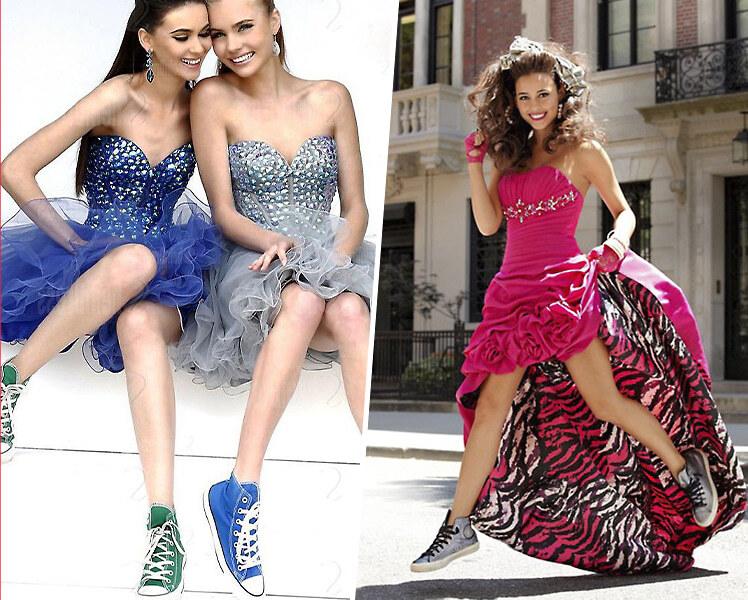 Выпускное платье с цветными кедами