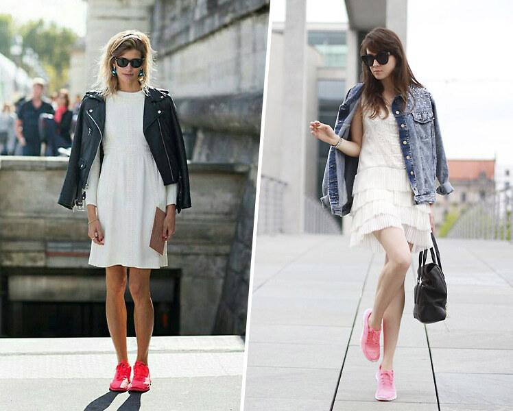 Как носить короткое белое платье с цветными кроссовками