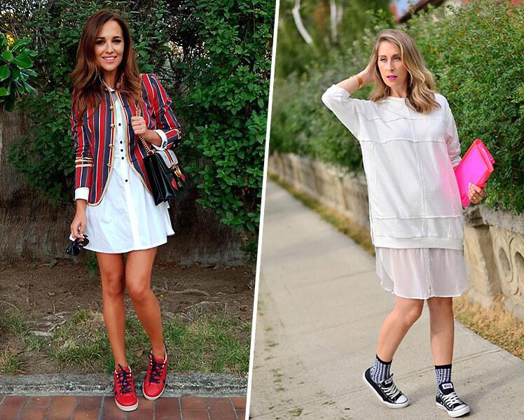 Белое платье и цветные кроссовки, фото идеи образов