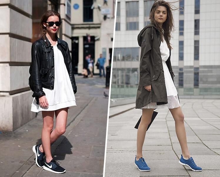 Как носить белое платье с цветными кроссовками