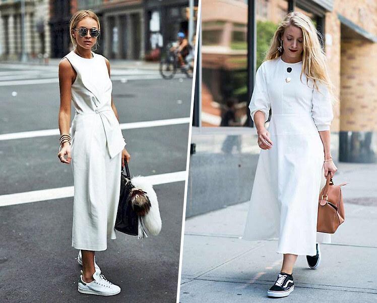 Как носить белое платье с цветными кроссовками, фото идеи образов