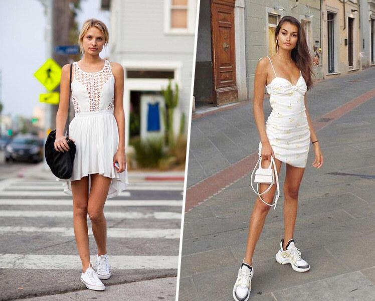 С какими кроссовками носить белое платье