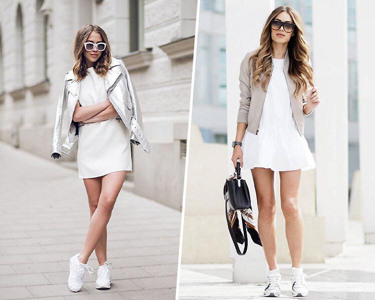 Как носить белое платье с белыми кроссовками
