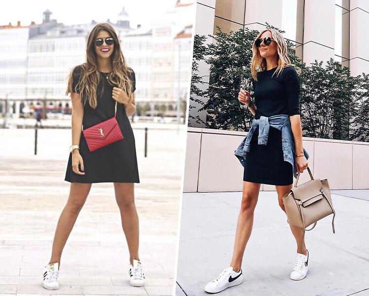 Как носить черное платье с белыми кроссовками