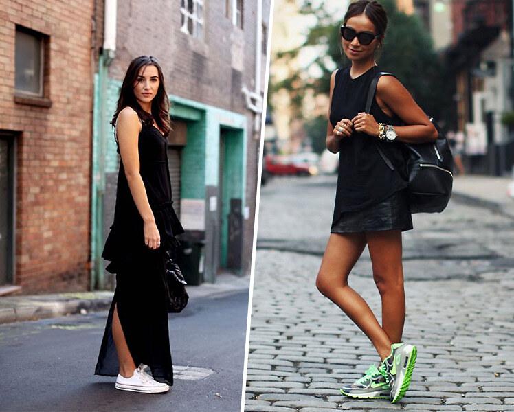 Как носить черное платье с цветными кроссовками