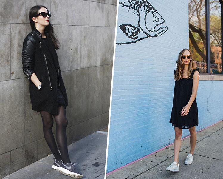 С какими кроссовками носить черное платье