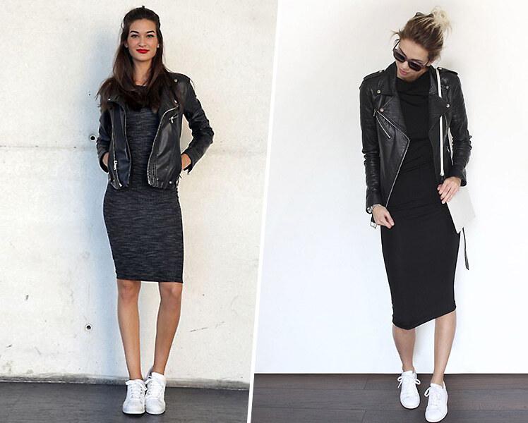 Как сочетать черное платье с белыми кроссовками