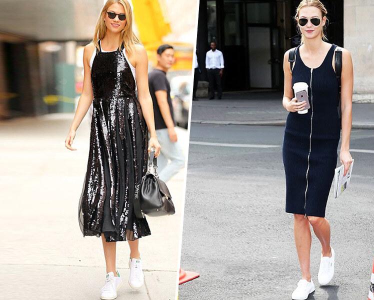 Как носить черное платье с белыми кроссовками, фото образов