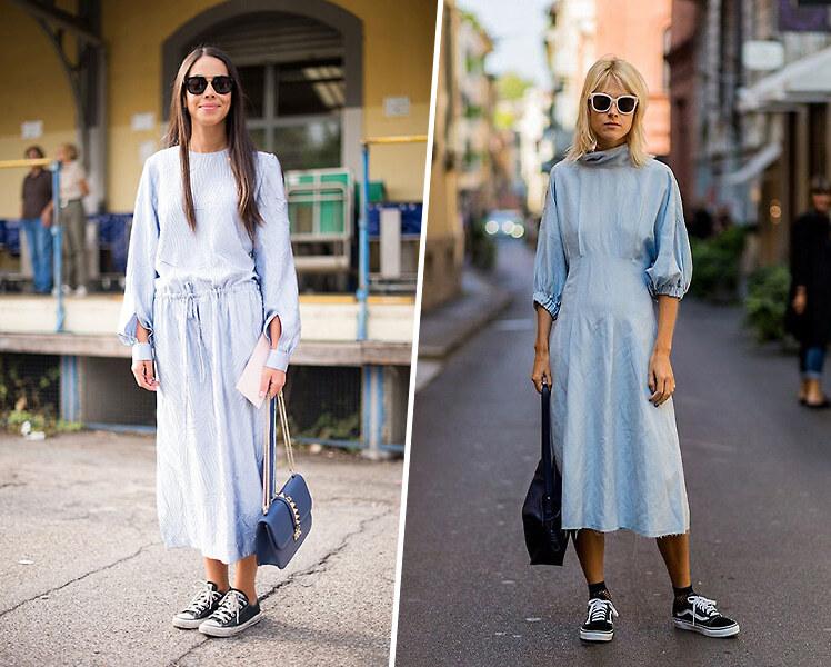 Как носить длинное платье с кедами